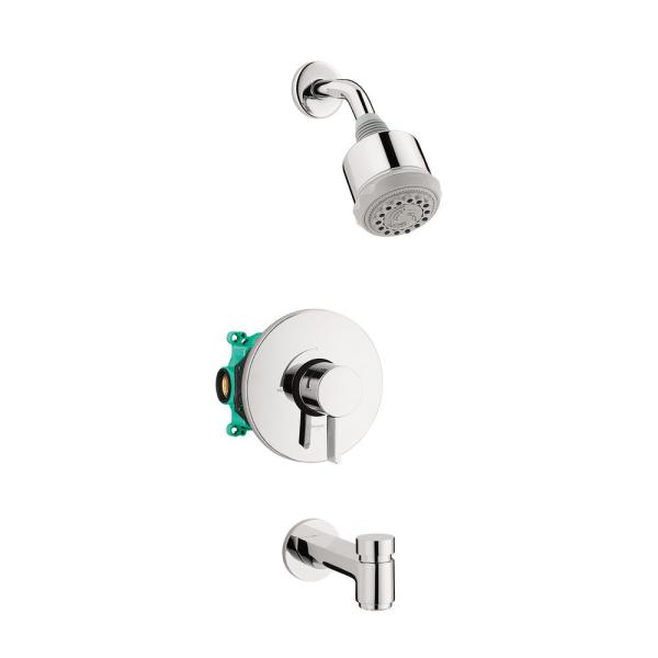 Clubmaster Single-Handle 3-Spray Tub and Shower Faucet with Tub Spout in Chrome Valve Included