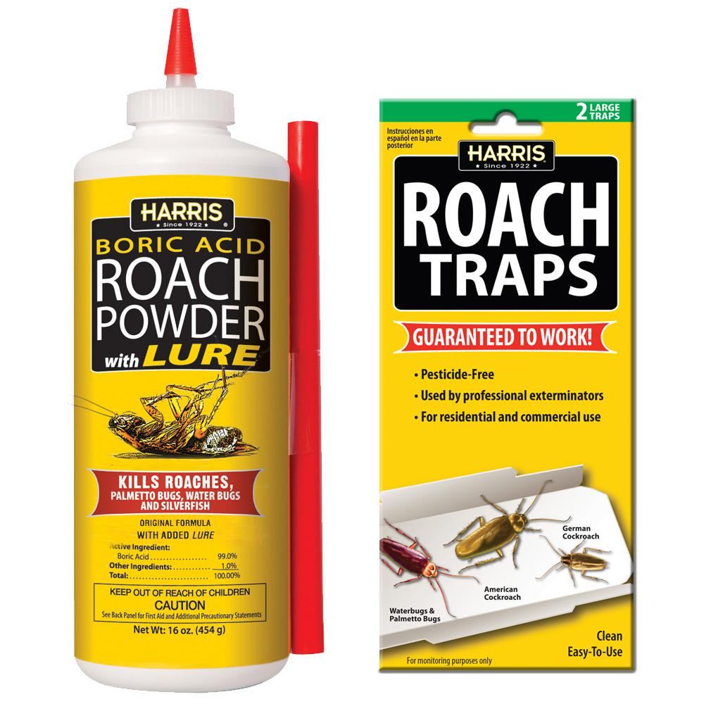 Harris 16 Oz Roach Powder And Roach Trap Value Pack Hrp 16vp The Home Depot