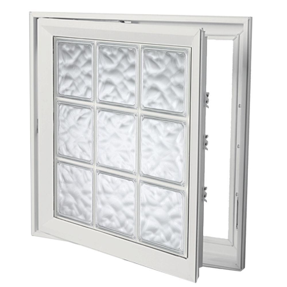 Hy-Lite 21 in. x 45 in. Acrylic Block Right Casement Vinyl Window - White