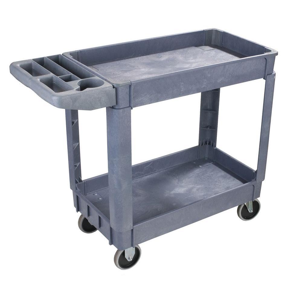 40 in. x 17.25 in. x 33.50 in. Small Bin Top Grey Utility Cart