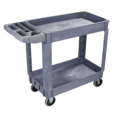 33.5 in. H x 17.25 in. W x 40 in. D Gray Small Bin Top Utility Cart