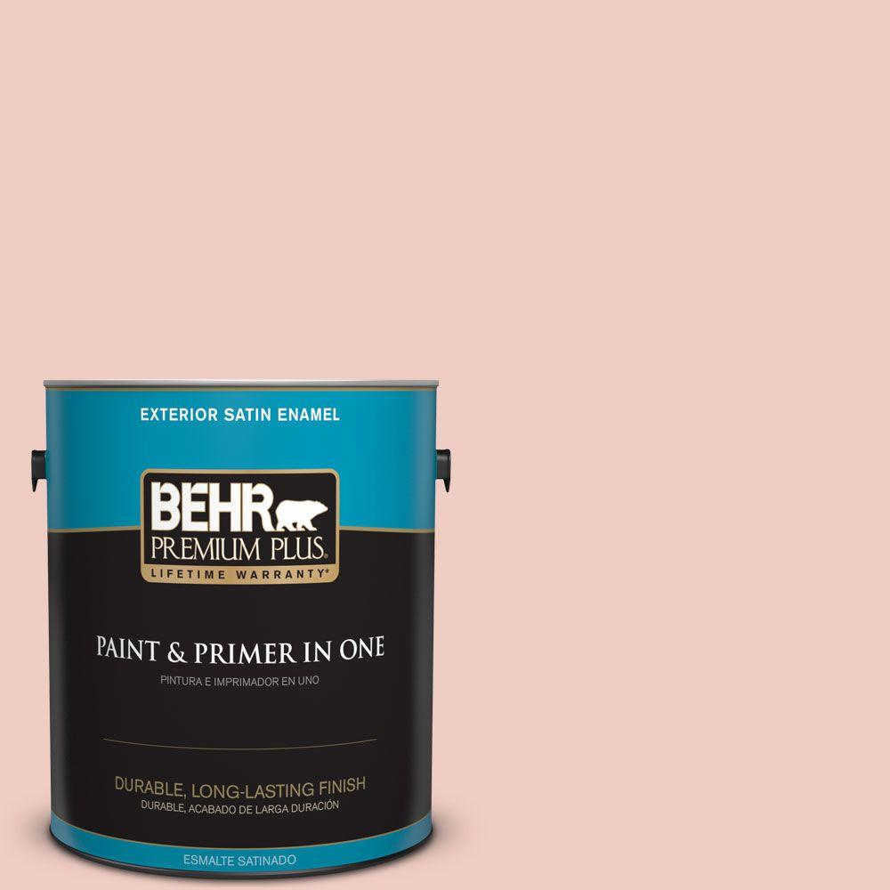 BEHR Premium Plus 1-gal. #200E-2 Salmon Tint Satin Enamel Exterior Paint