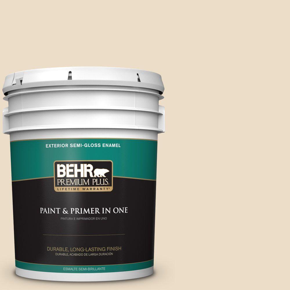5-gal. #710C-2 Raffia Cream Semi-Gloss Enamel Exterior Paint