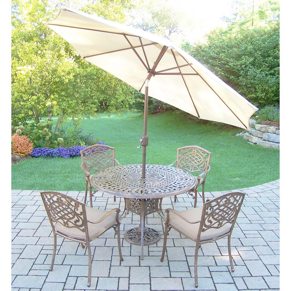 7-Piece Aluminum Outdoor Dining Set with Sunbrella Beige Cushions and Beige Umbrella