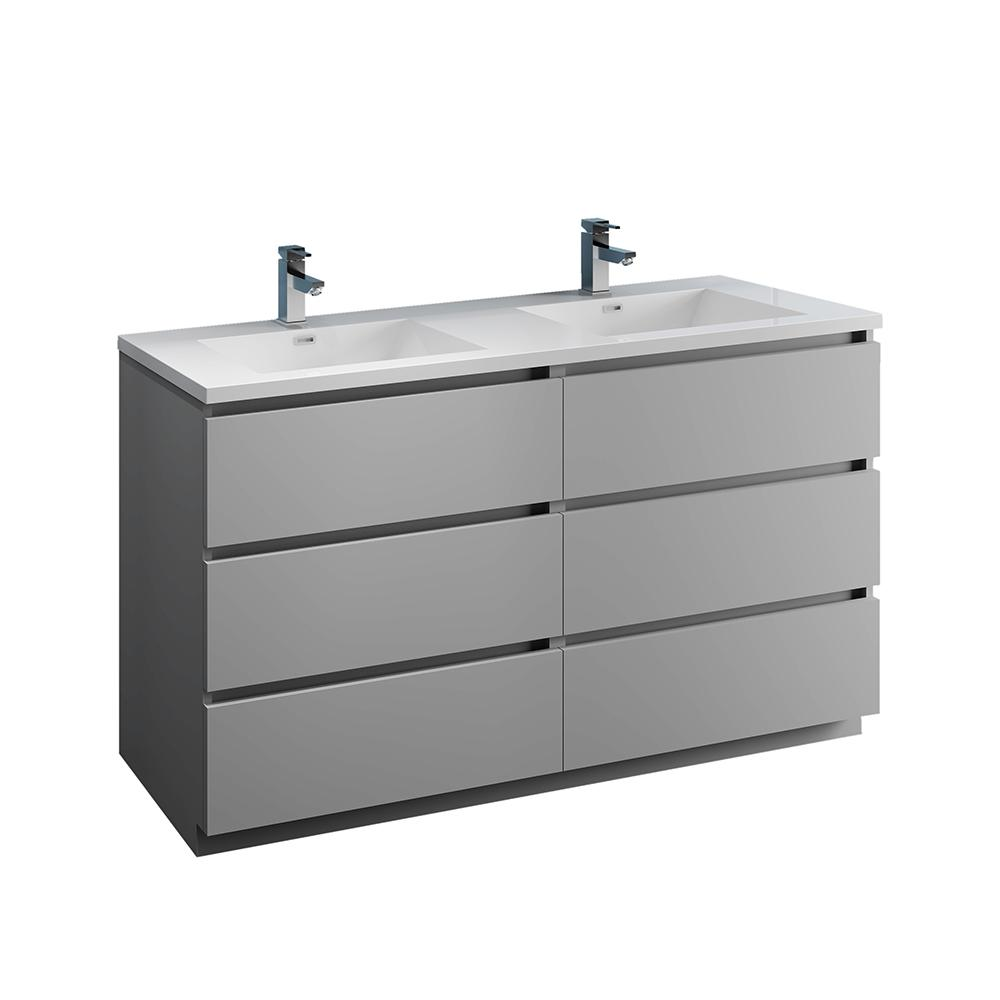 . Fresca Lazzaro 60 in  Modern Double Bathroom Vanity in Gray with Vanity Top  in White with White Basins