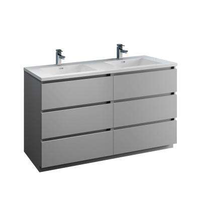 Lazzaro 60 in. Modern Double Bathroom Vanity in Gray with Vanity Top in White with White Basins