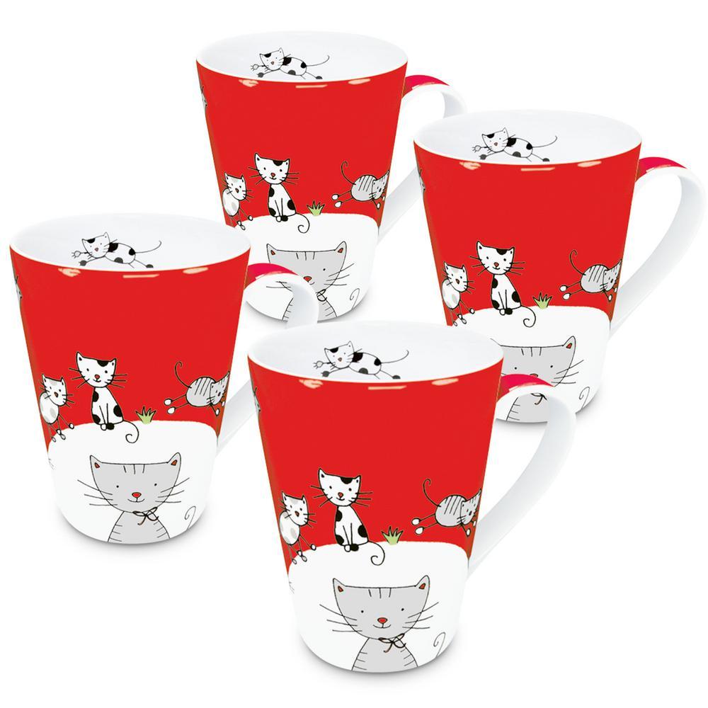 Konitz 4-Piece Globetrotter Cat Porcelain Mug Set