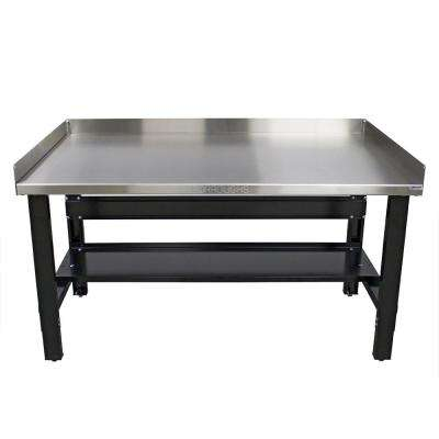 34 in. x 60 in. Heavy-Duty Adjustable Height Workbench with Stainless Steel Top with Edge Guards and Bottom Shelf