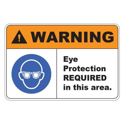 8 in. x 12 in. Plastic Warning Eye Protection Required Safety Sign