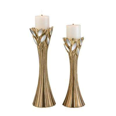 Gold Gaia Polyresin Candleholders (Set of 2)