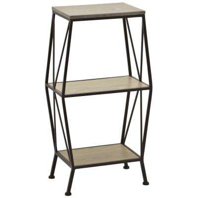 34.5 in. Brown Metal Wood Storage Shelves
