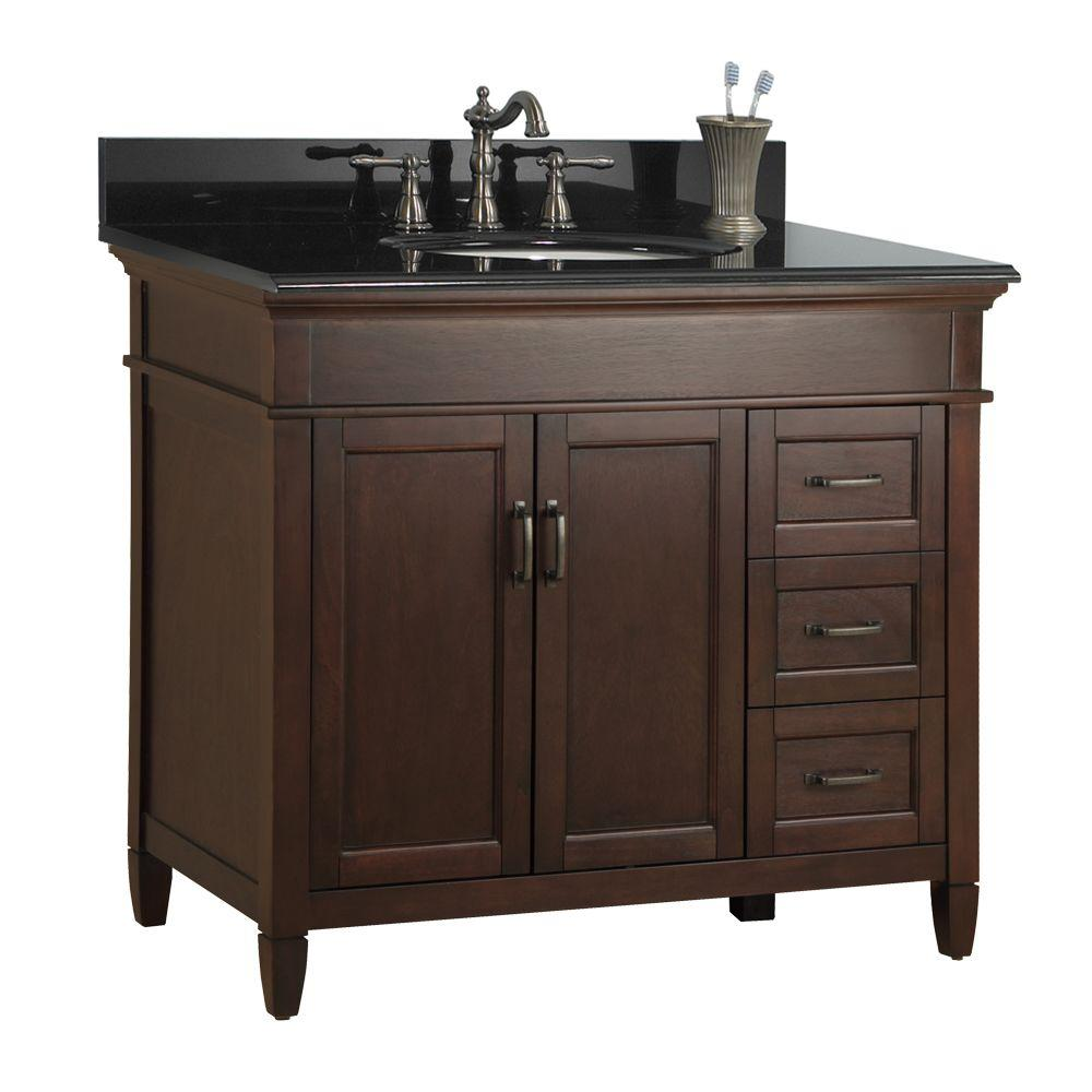 """Foremost"" Ashburn 37 in. W x 22 in. D Bath Vanity in Mahogany with Right Drawers with Granite Vanity Top in Black"