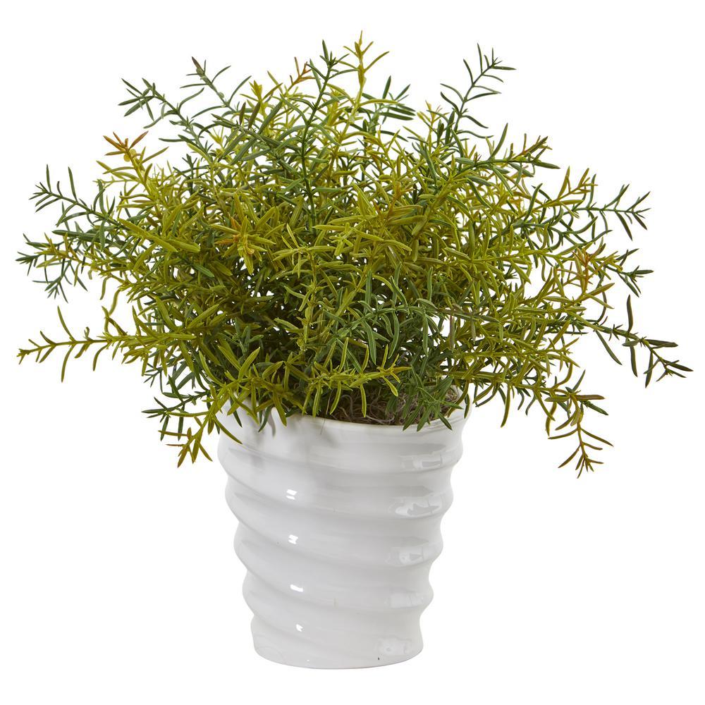 13 in. Rosemary Artificial Plant in Decorative Swirl Planter
