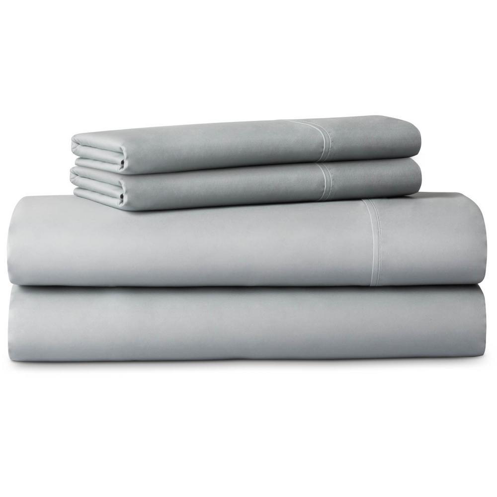 4-Piece Brushed Microfiber Gray Cal King Sheet Set