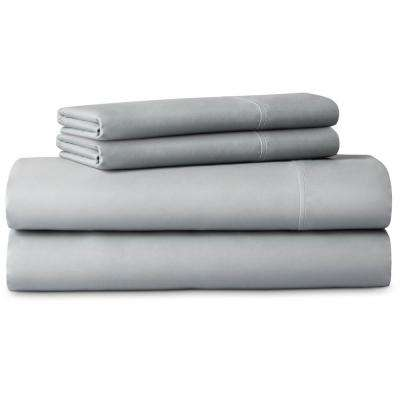 4-Piece Brushed Microfiber Gray Queen Size Sheet Set