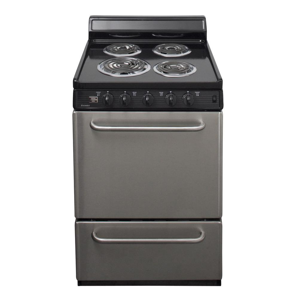 premier 24 in cu ft electric range in stainless steel eck600bp the home depot. Black Bedroom Furniture Sets. Home Design Ideas
