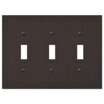 Barnard 3 Gang Toggle Metal Wall Plate - Aged Bronze