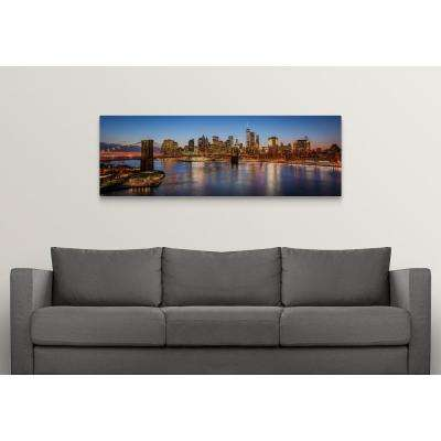 """""""New York City Skyline with Brooklyn Bridge in Foreground, with HDR Effect"""" by Circle Capture Canvas Wall Art"""