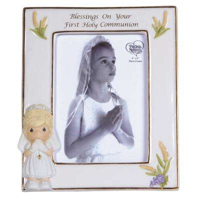 3.5 in. x 5 in. Communion Girl Multi Colored Gloss Porcelain Picture Frame