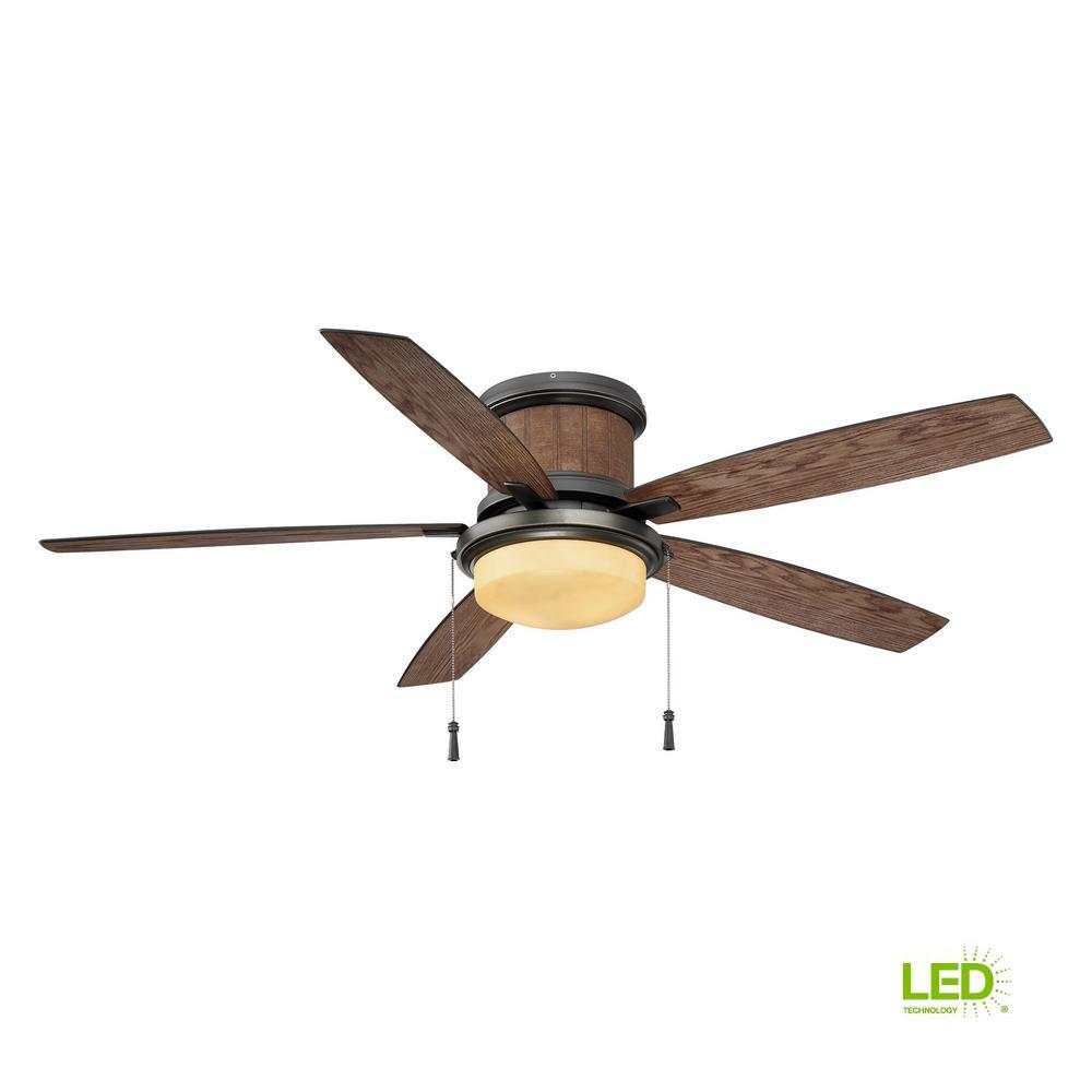 Hampton Bay Roanoke 56 In Led Indoor Outdoor Natural Iron Ceiling Fan