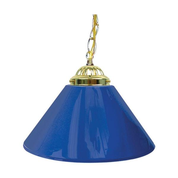14 in. Single Shade Blue and Brass Hanging Lamp