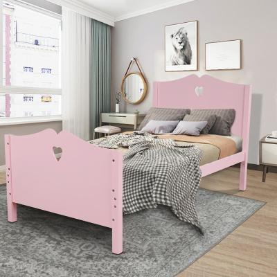 Pink Bed Frame Twin Platform Bed with Wood Slat Support and Headboard and Footboard
