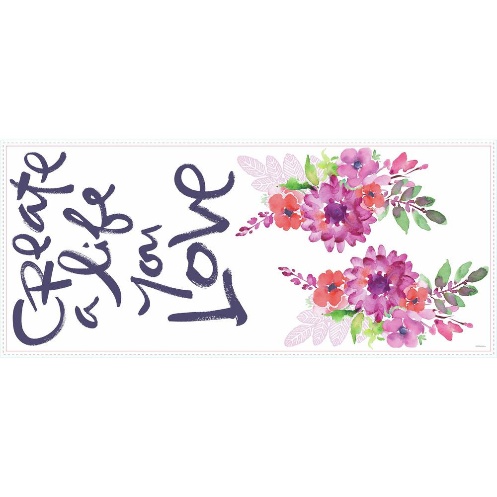 RoomMates 5 in. x 19 in. Kathy Davis Create A Life Floral ...