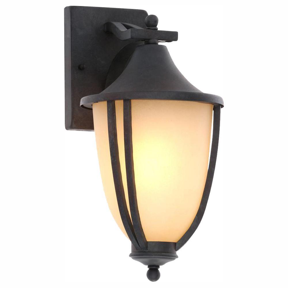 Hampton bay 1 light rustic iron outdoor wall mount lantern sconce 2 pack