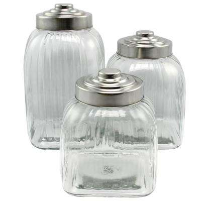Cottage Chic 3-Piece Clear Glass Canister Set with Stainless Steel Lid Set