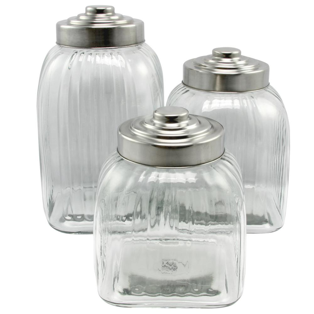 kitchen glass canisters with lids general store cottage chic 3 piece clear glass canister set with stainless steel lid set 6402