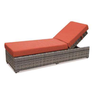 Cherry Hill Patio Chaise Lounge with Canvas Brick Cushion