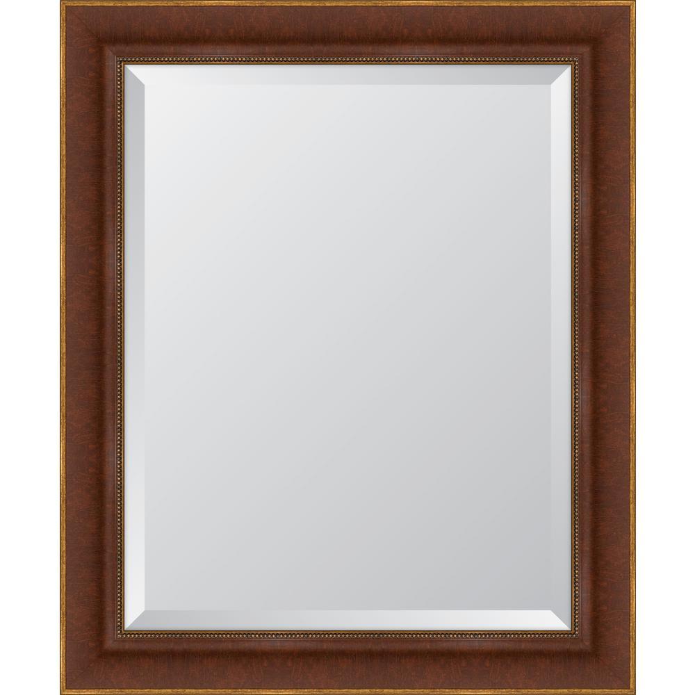 Medium Rectangle Walnut Beveled Glass Classic Mirror (29 in. H x 35 in. W)