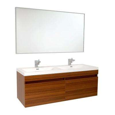 Largo 57 in. Double Vanity in Teak with Acrylic Vanity Top in White with White Basins and Mirror