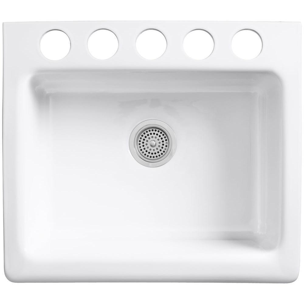 Alcott Undermount Farmhouse Apron-Front Fireclay 25 in. 5-Hole Single Bowl Kitchen Sink in White