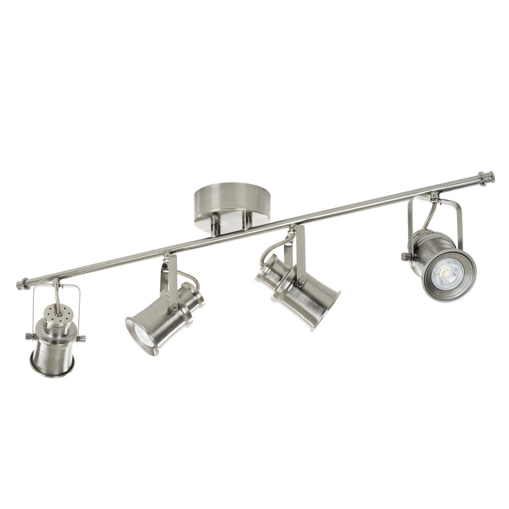 3 ft. 4-Light Brushed Nickel Integrated LED Industrial Fixed Track Lighting