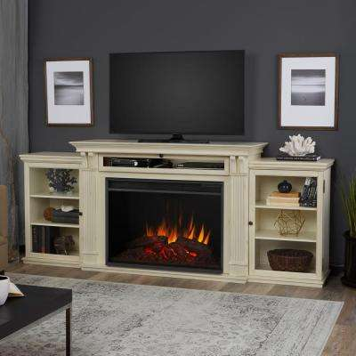 Tracey Grand 84 in. Entertainment Center Electric Fireplace in Distressed White