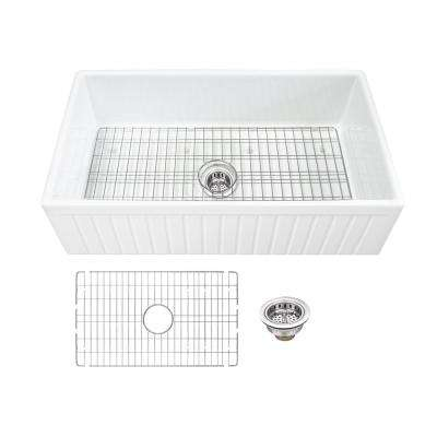 Farmhouse Apron Front Fireclay 33 in. Fluted Single Bowl Kitchen Sink in White with Grid and Strainer