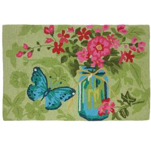 Click here to buy  Mason Jar Flowers Multi 1 ft. 10 inch x 2 ft. 10 inch Accent Rug.