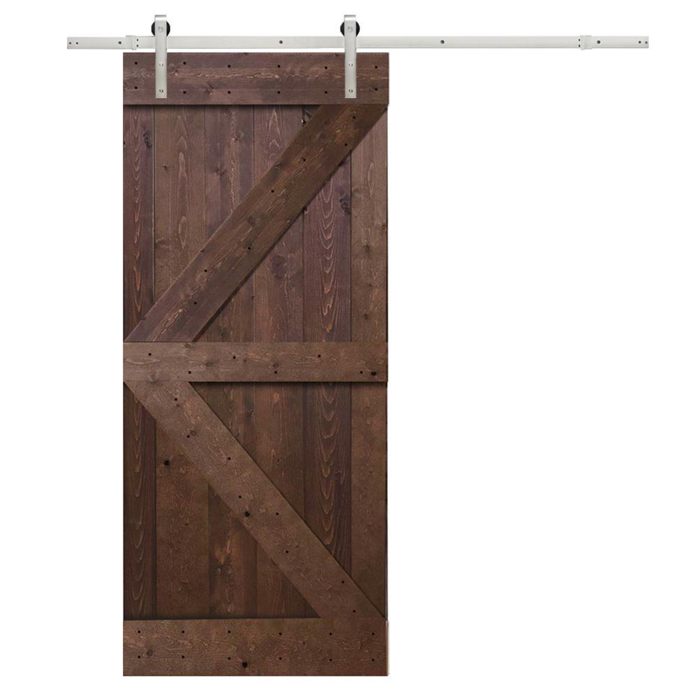 36 in. x 84 in. K-Design Primed Solid Pine Wood Barn Door with Sliding Door Hardware Kit