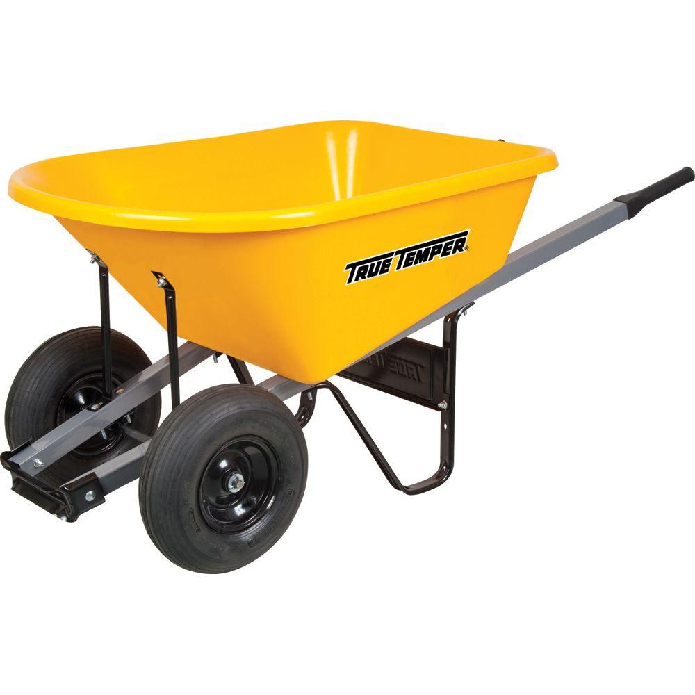 True Temper 6 Cu Ft Poly Wheelbarrow With Dual Wheels Rp6dwlg8 The Home Depot