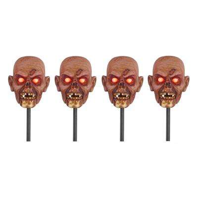 15 in. Zombie Head Pathway Markers with LED Illumination (Set of 4)