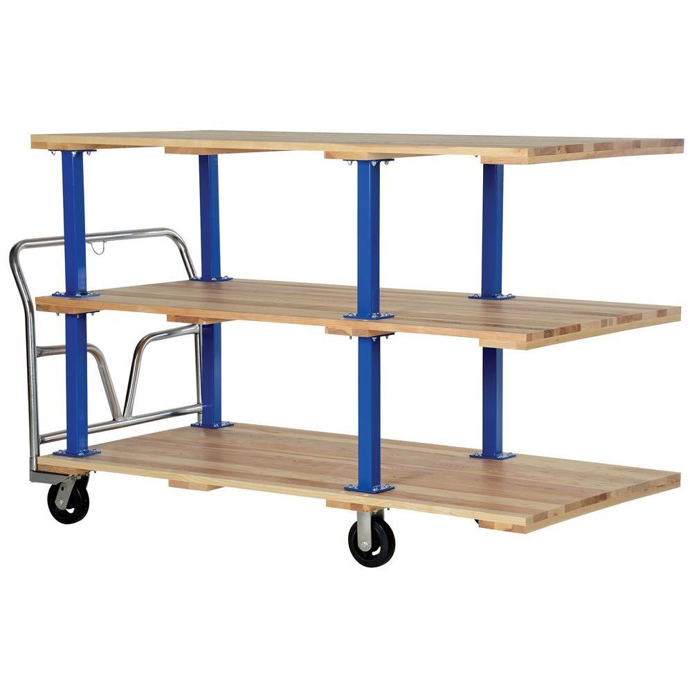 Vestil 36 in  x 72 in  Triple Deck Hardwood Platform Cart-VHPT/TD-3672 -  The Home Depot