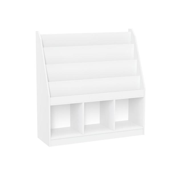 White Kids Bookrack with 3-Cubbies