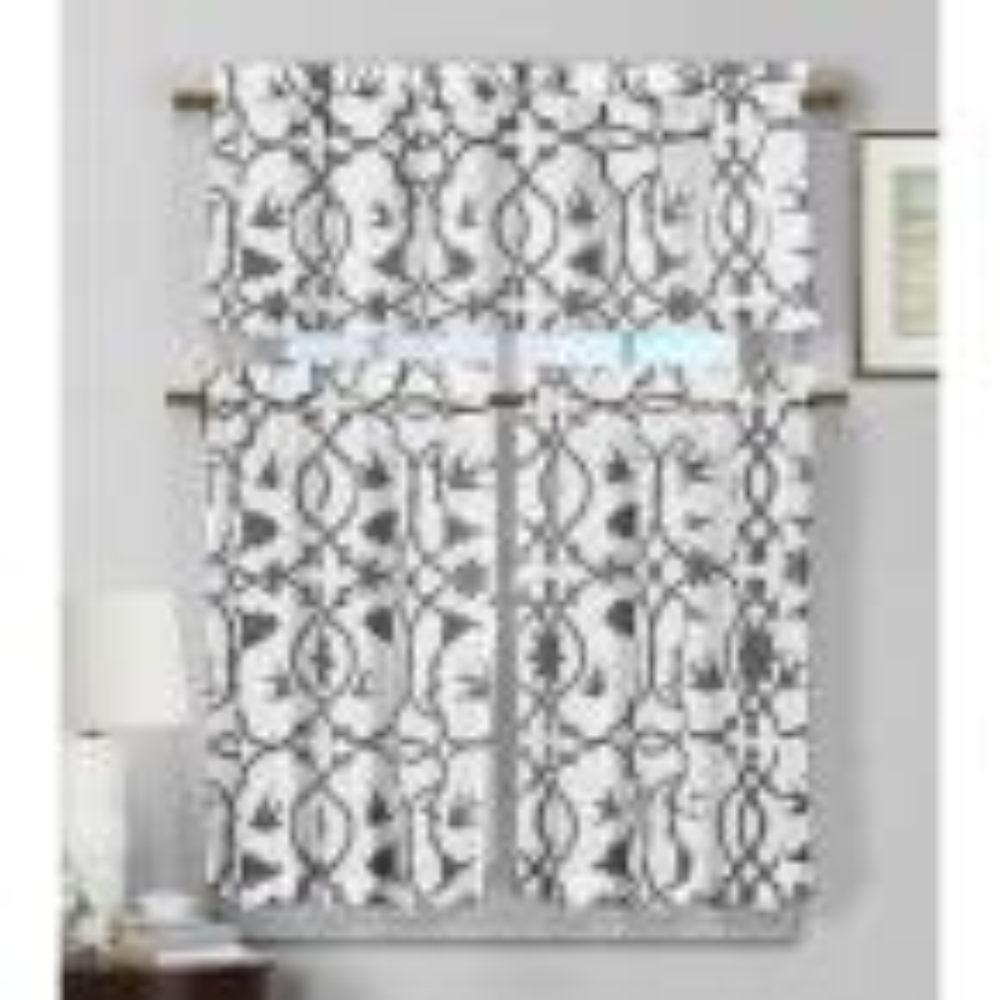 Dawn Dark Grey Faux Linen Kitchen Curtain - 58 in. W x 15 in. L in (2-Piece)