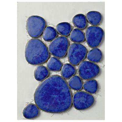 Pebble Blue Cloud Porcelain Mosaic Tile - 3 in. x 4 in. Tile Sample