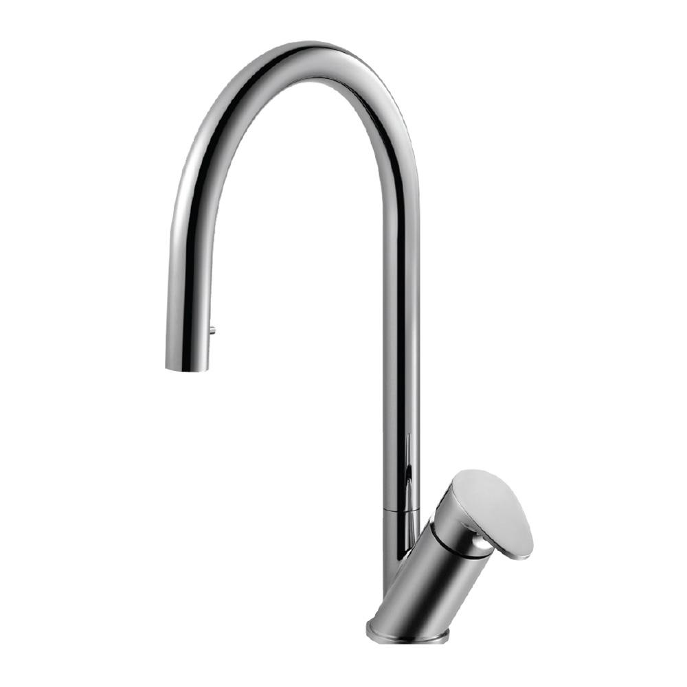 Houzer Oni Single Handle Hidden Pull Down Sprayer Kitchen Faucet With Ceradox Technology In Polished Chrome Onipd 169 Pc The Home Depot