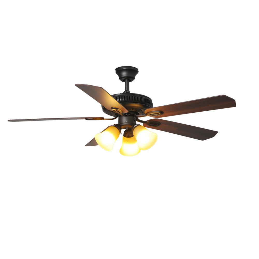 Hampton Bay Glendale 52 In Led Indoor Oil Rubbed Bronze Ceiling Fan With Light
