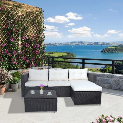 Versailles 3-Piece Wicker Patio Conversation Sectional Seating Set with Beige Cushions