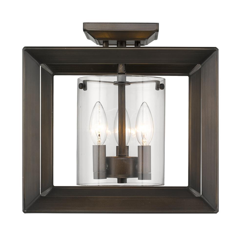 Golden Lighting Smyth 3-Light Gunmetal Bronze 12 in. Semi-Flush Mount with Clear Glass