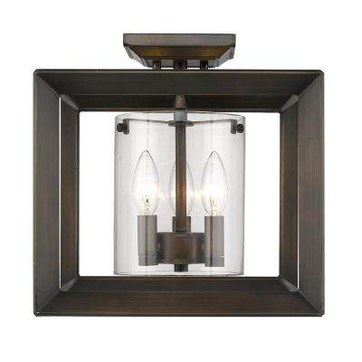 Smyth 3-Light Gunmetal Bronze 12 in. Semi-Flushmount with Clear Glass